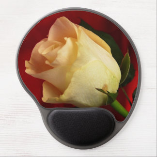 White rose on red background gel mouse pad