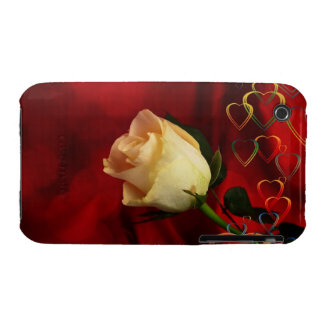 White rose on red background iPhone 3 cover