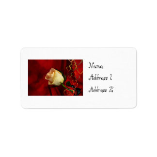White rose on red background label