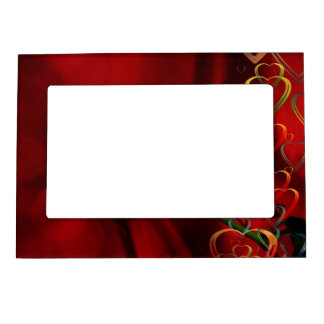 White rose on red background magnetic frame