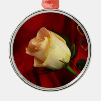 White rose on red background metal ornament