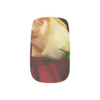 White rose on red background minx ® nail art