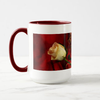 White rose on red background mug