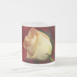 White rose on red background coffee mugs