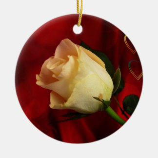 White rose on red background christmas tree ornament