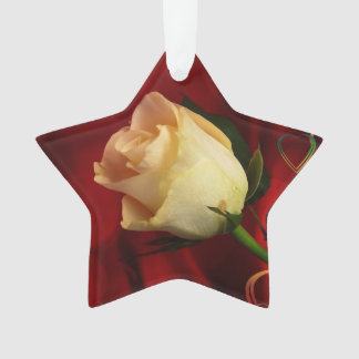 White rose on red background ornament