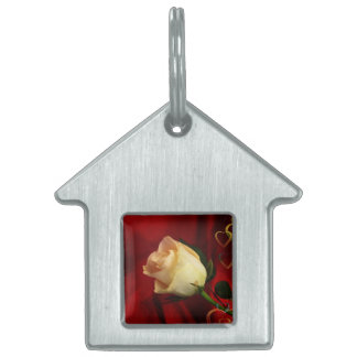 White rose on red background pet ID tag