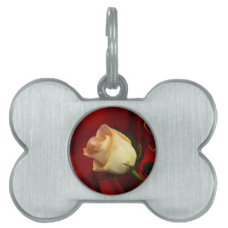 White rose on red background pet name tag