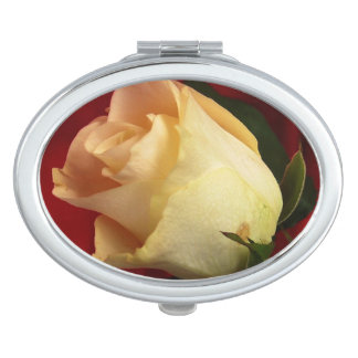 White rose on red background mirrors for makeup