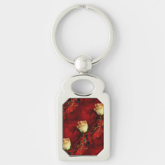 White rose on red background Silver-Colored rectangular metal keychain