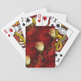 White rose on red background playing cards