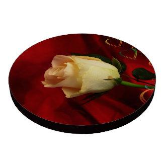 White rose on red background set of poker chips
