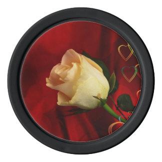 White rose on red background poker chips set