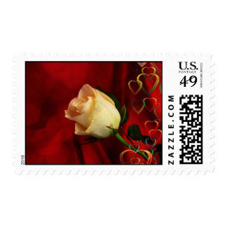 White rose on red background stamps