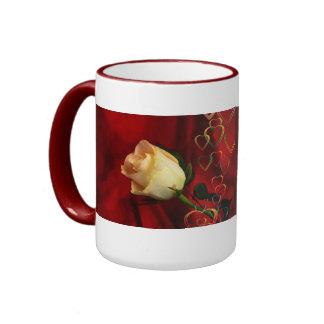 White rose on red background ringer mug