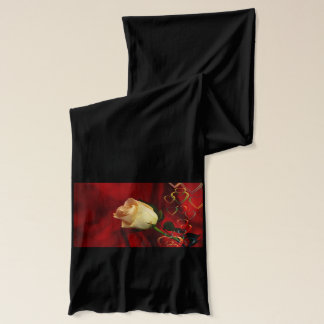 White rose on red background scarf