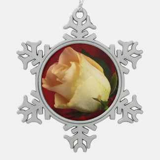 White rose on red background snowflake pewter christmas ornament