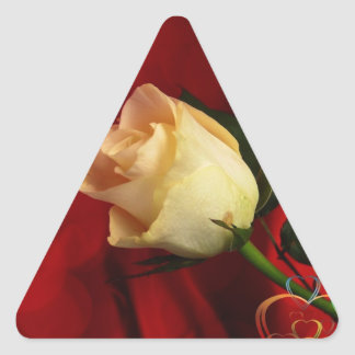 White rose on red background stickers