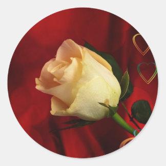 White rose on red background sticker