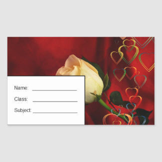 White rose on red background rectangle stickers