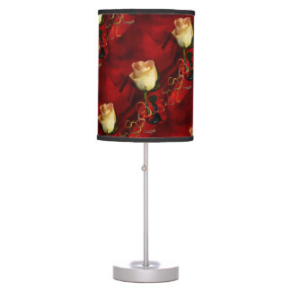 White rose on red background table lamp