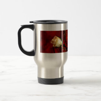 White rose on red background travel mug