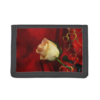 White rose on red background trifold wallets