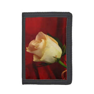 White rose on red background tri-fold wallet