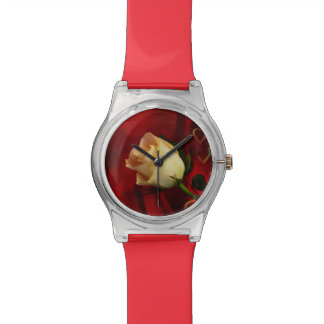 White rose on red background wristwatches
