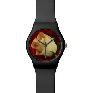 White rose on red background watches