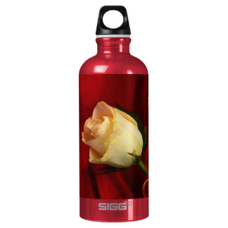 White rose on red background water bottle