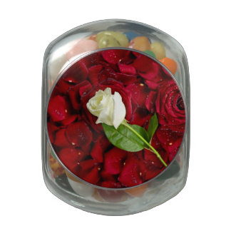 White Rose On Red Petals Glass Candy Jars