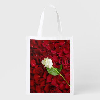 White Rose On Red Petals Grocery Bags