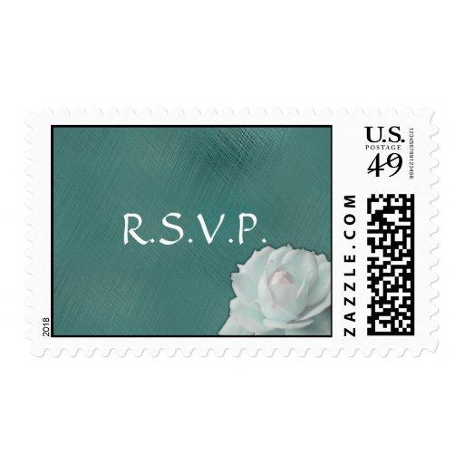 White Rose on Teal - RSVP Postage Stamp