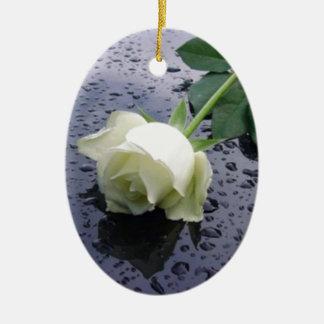 White Rose Christmas Ornaments