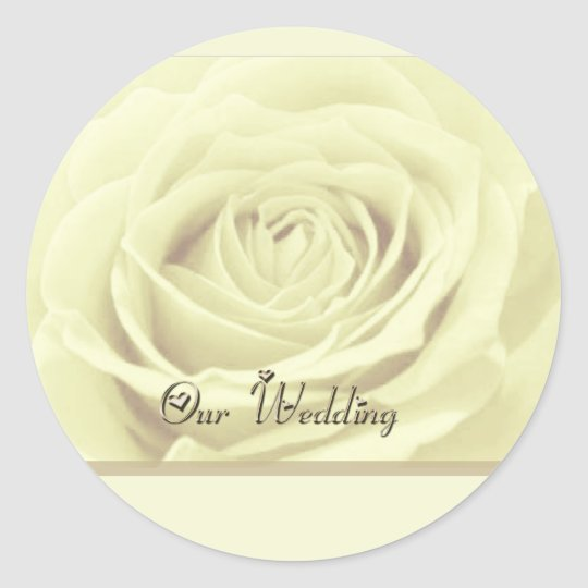 white rose ~ our wedding classic round sticker