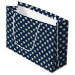 White Rose Pattern (navy blue) Large Gift Bag
