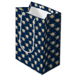 White Rose Pattern (navy blue) Medium Gift Bag