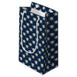 White Rose Pattern (navy blue) Small Gift Bag
