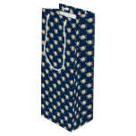 White Rose Pattern (navy blue) Wine Gift Bag