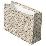 White Rose Pattern (sand) Large Gift Bag