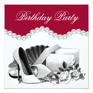 White Rose Pearls High Heels Red Birthday Party Card