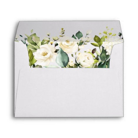 White Rose Peony Greenery Floral 5x7 Flowers Envelope