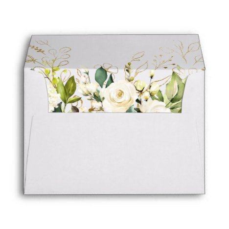 White Rose Peony Greenery Floral for 5x7 cards Envelope