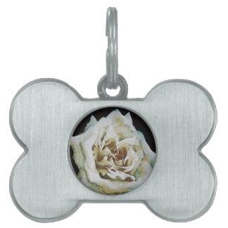 White Rose Pet Name Tag