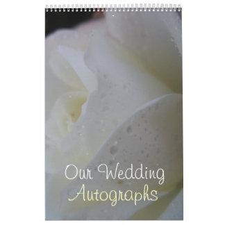 White Rose Petal Wedding Wall Calendars