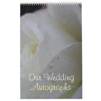 White Rose Petal Wedding Calendar
