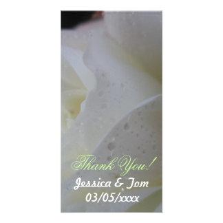 White Rose Petal Wedding Card