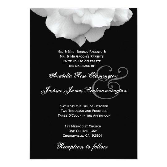 WHITE Rose Petals Wedding Invitation F200