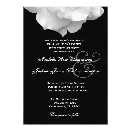 WHITE Rose Petals Wedding Invitation F200A